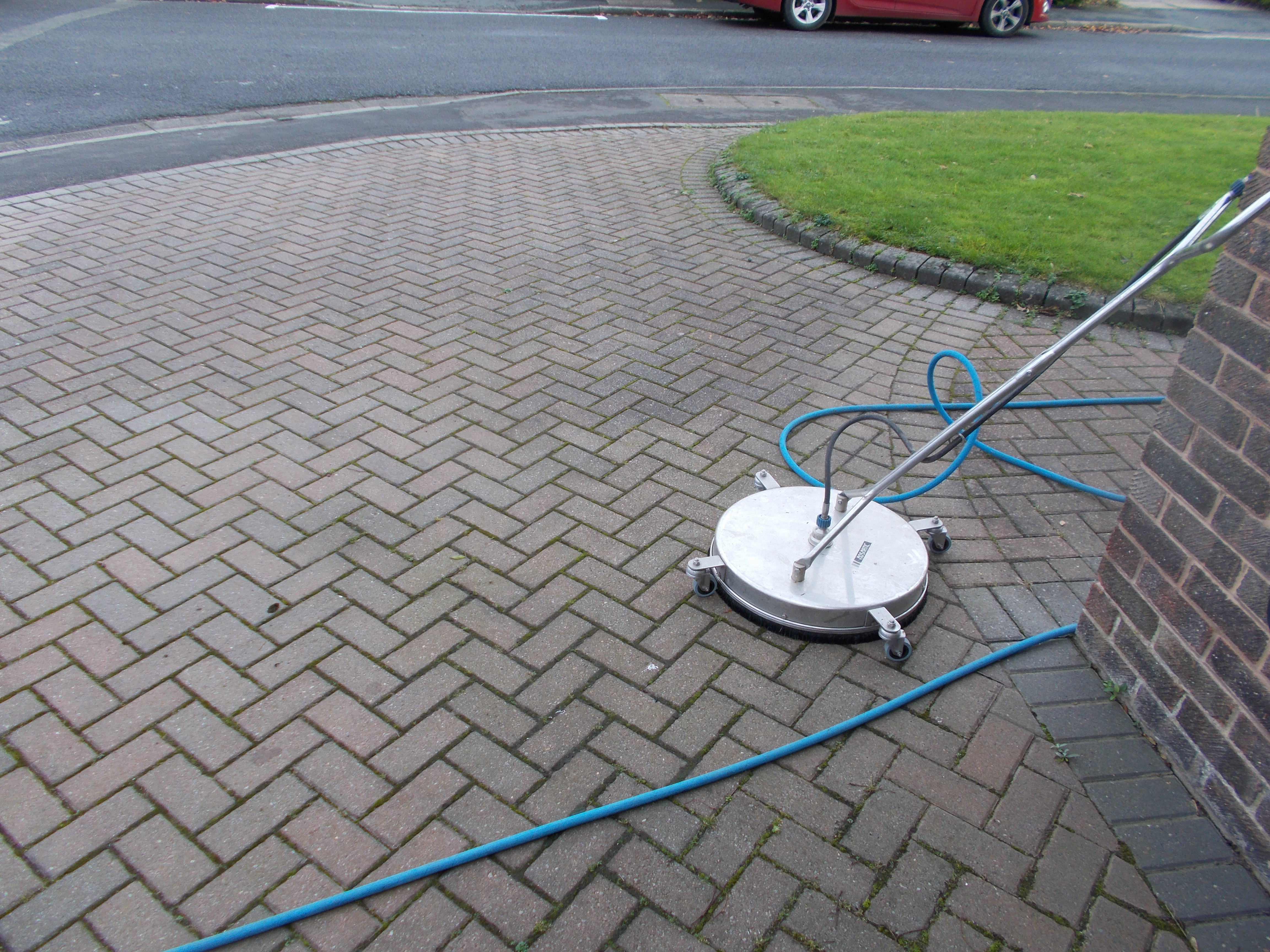 We clean block paving using a flat surface cleaner.